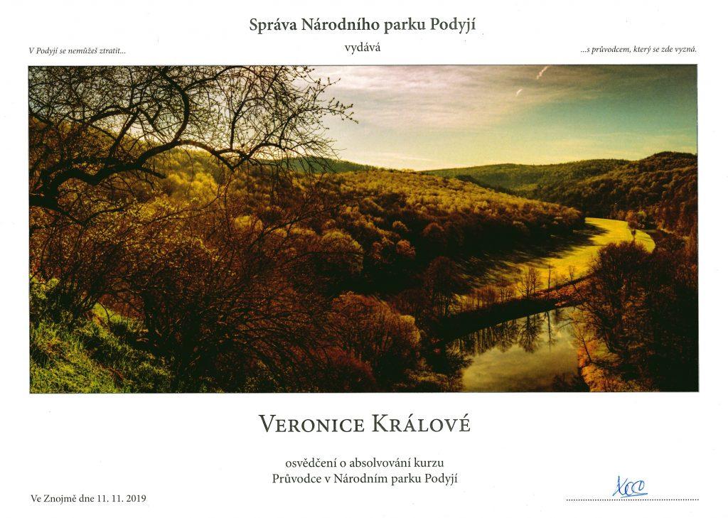 certifikát: průvodcovský kurz, národní park Podyjí, Veronika Králová