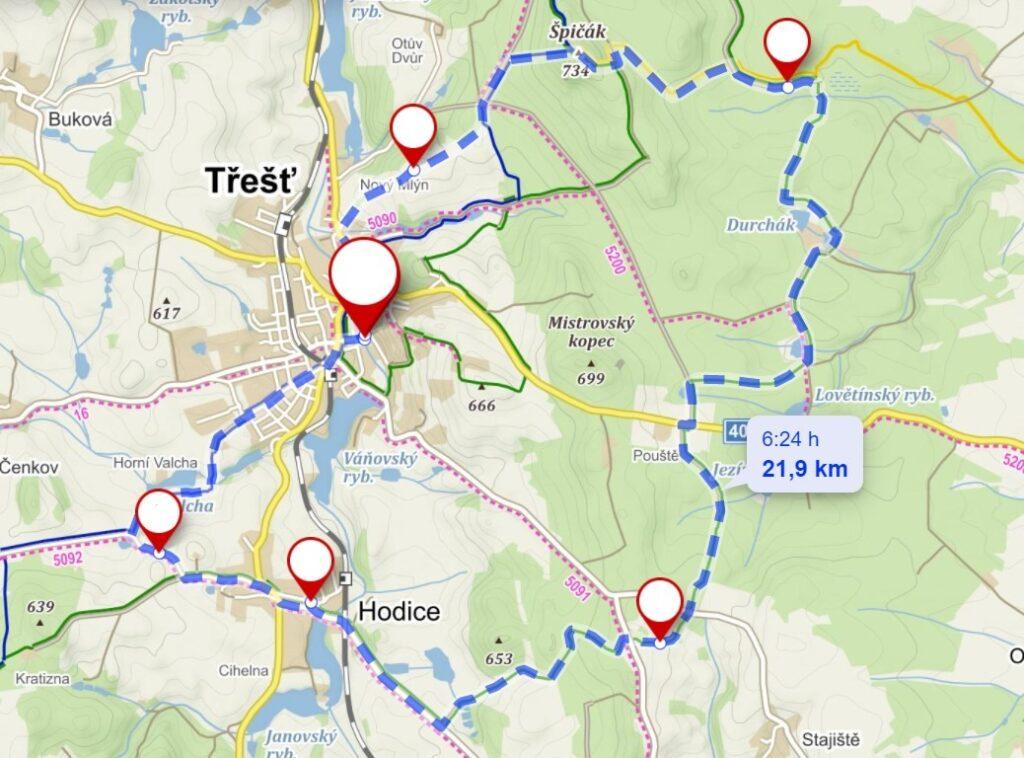 trasa výletu z Třeště k prameni Moravské Dyje
